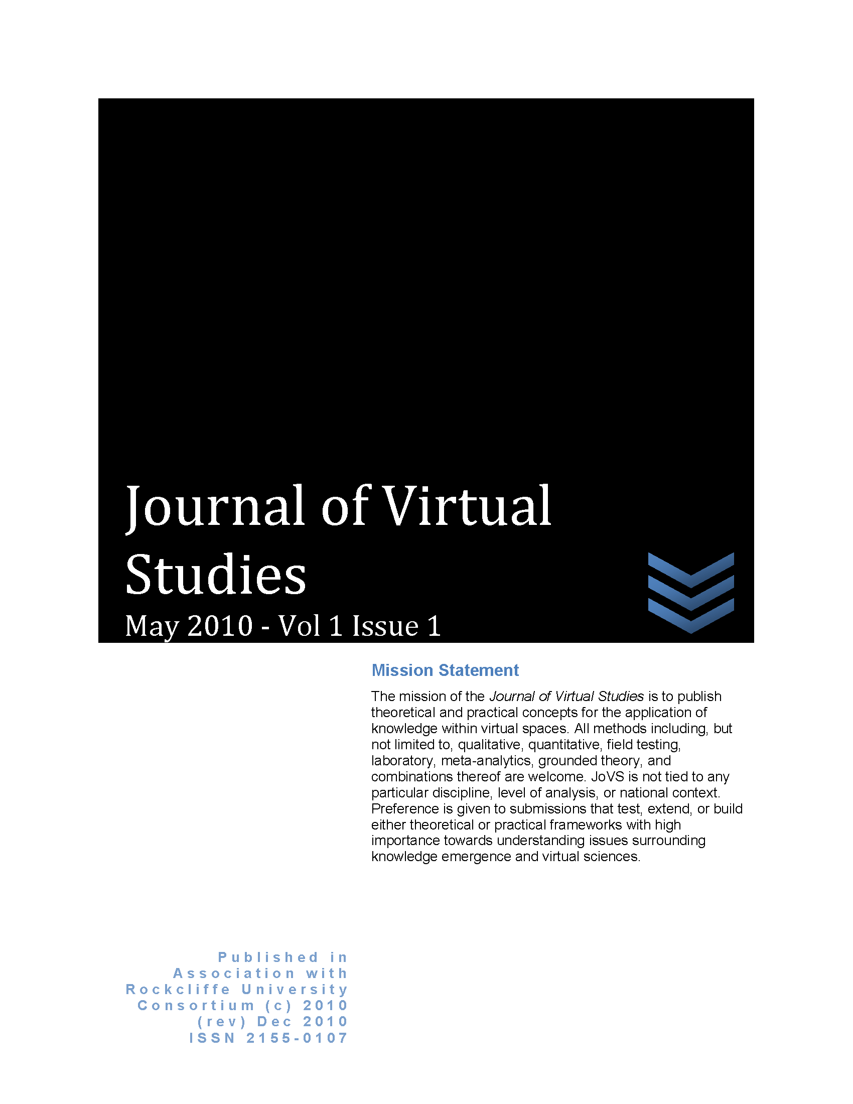 JoVS Volume 1 Issue 1